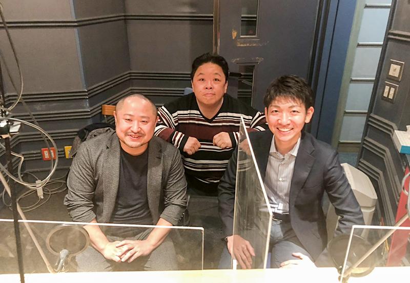 伊集院光さん(中央)、TBSアナウンサー喜入友浩さん(右)、代表・初瀬勇輔(左)